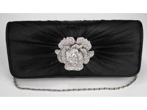 Spoločenská kabelka štrasový kvet - čierna