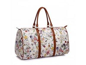 Cestovna taška flowers AG00479 biela 1 kabelky.sk
