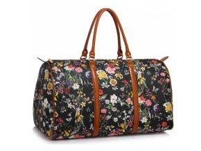 Cestovná taška Flower- čierna