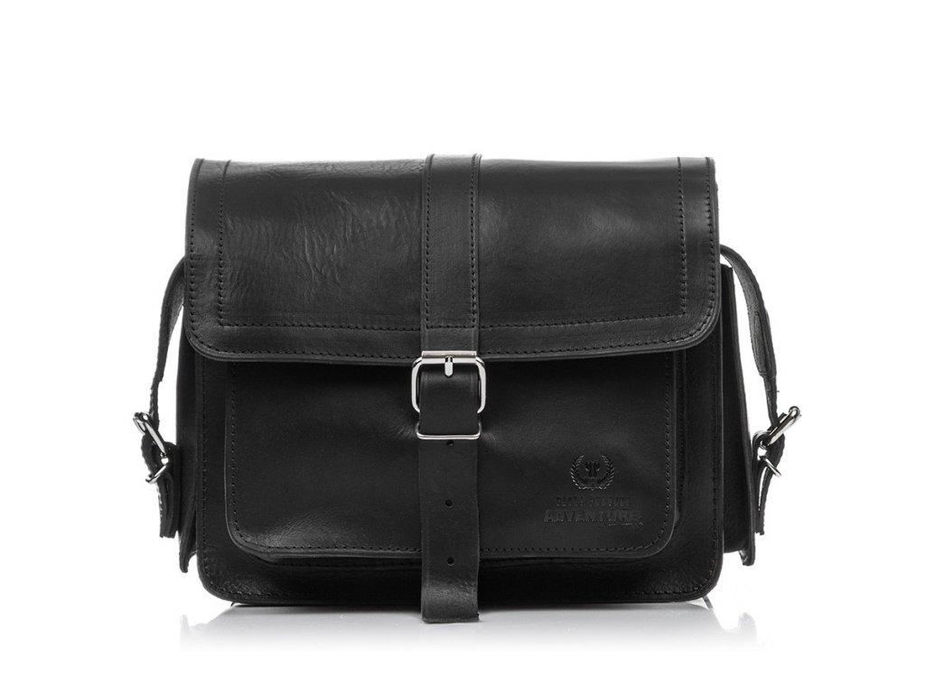 Černá kožená taška přes rameno PAOLO PERUZZI  Q-43-BL