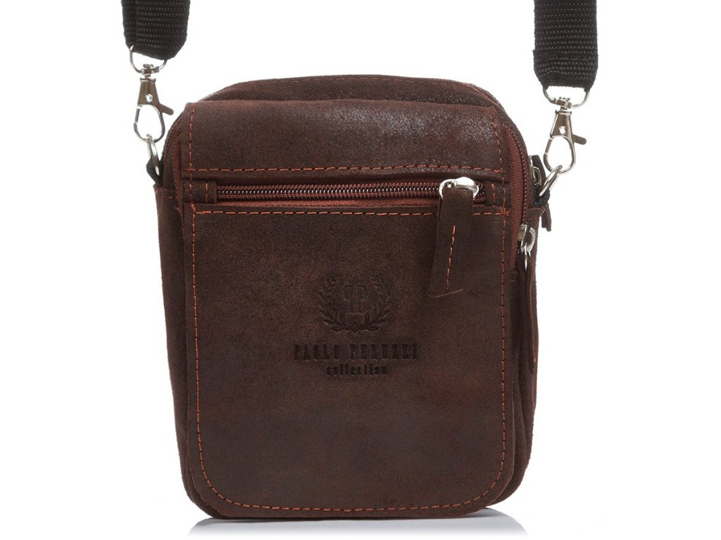Pánská kožená kabelka přes rameno PAOLO PERUZZI; hnědá