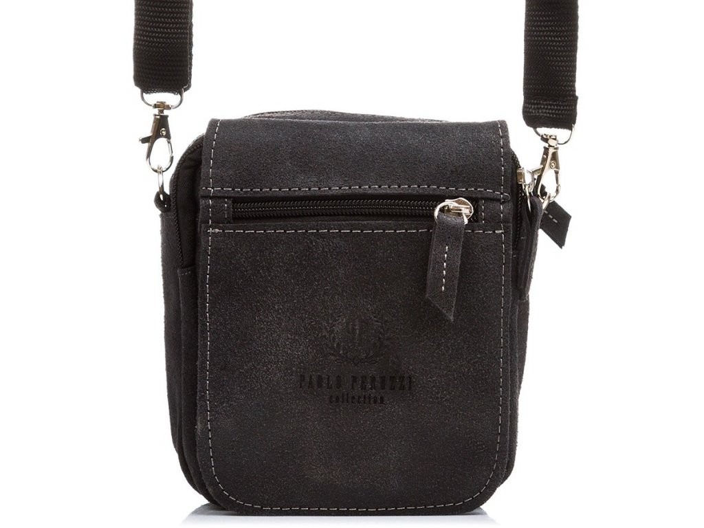 Pánská kožená kabelka přes rameno PAOLO PERUZZI; černá