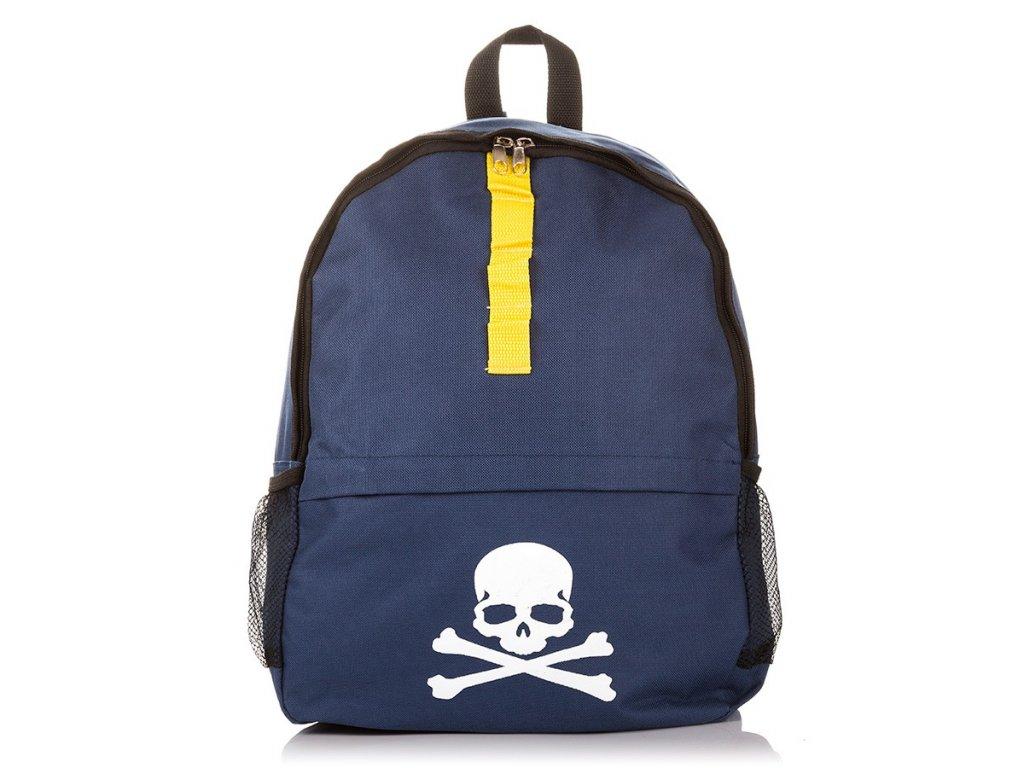 Školní voděodolný batoh s lebkou; tmavě modrý