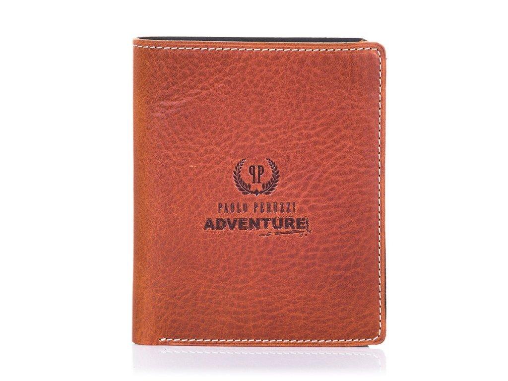 Supertenká pánská kožená peněženka PAOLO PERUZZI ADVENTURE; hnědá