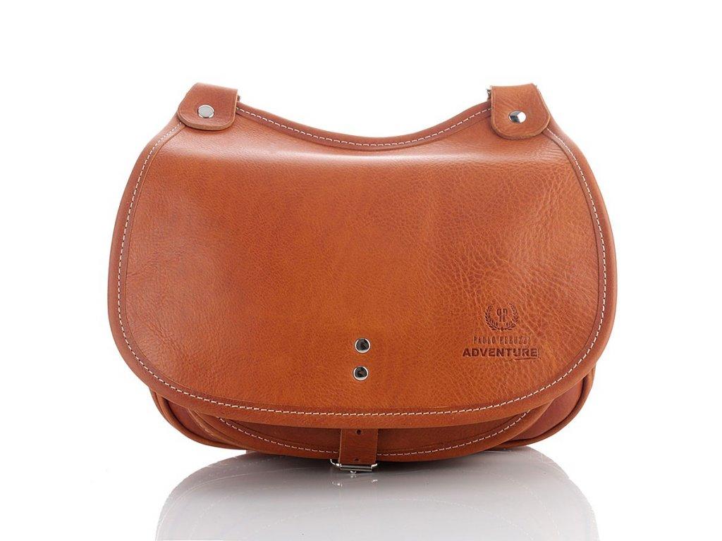 Kožená dámská kabelka z italské kůže PAOLO PERUZZI; hnědá