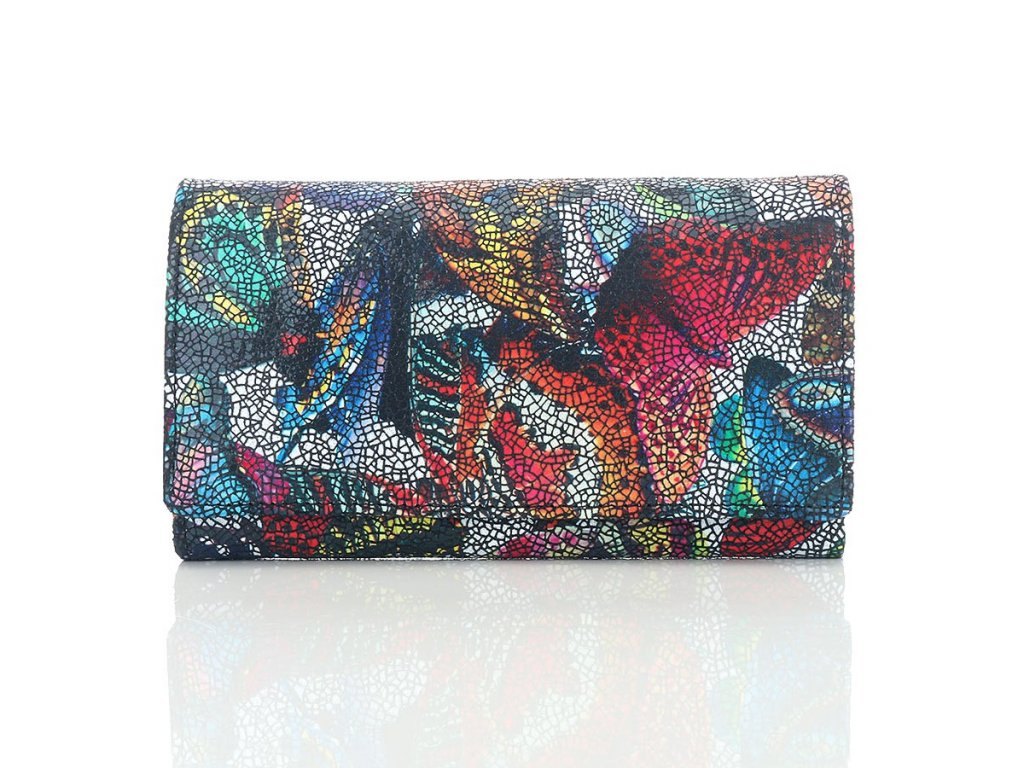 Luxusní kožená dámská peněženka Paolo Peruzzi; motýl