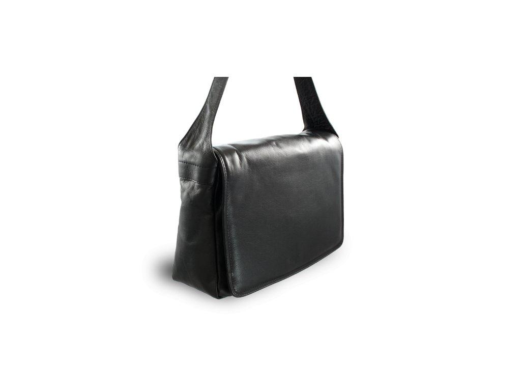 Kožená klopnová kabelka české výroby; černá