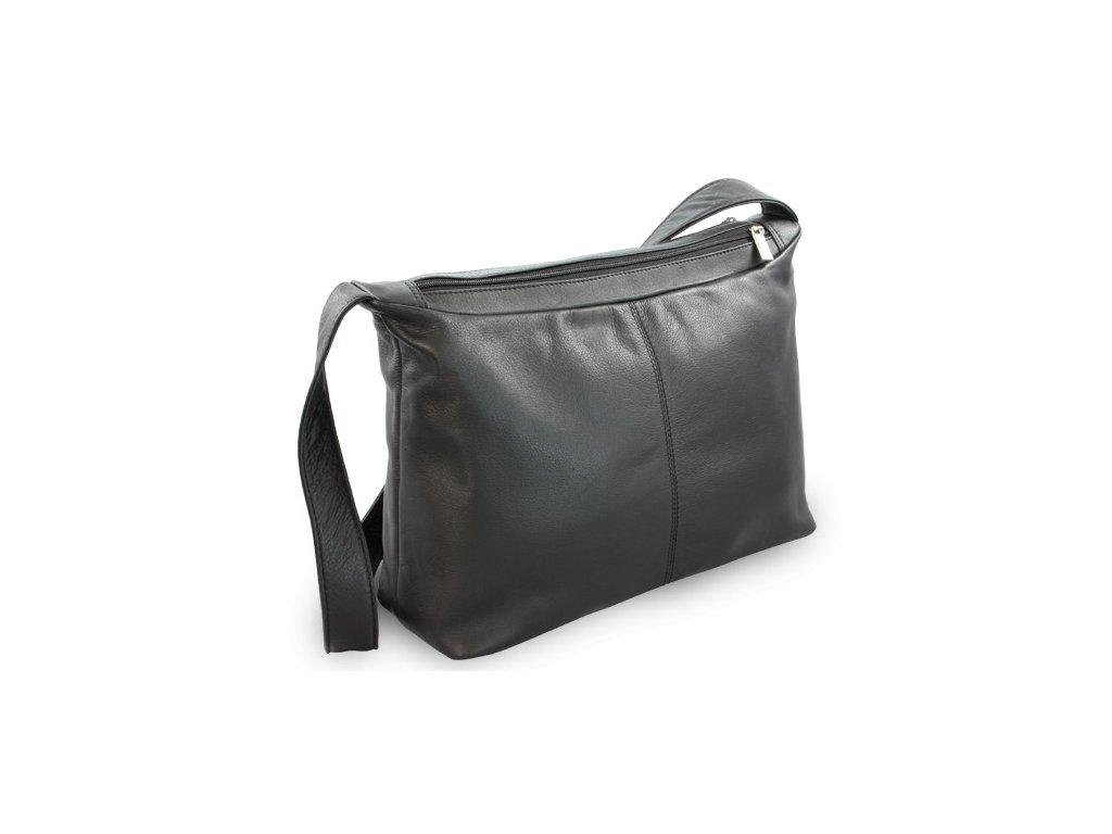 Kožená dámská kabelka Arwel černá dvouzipová