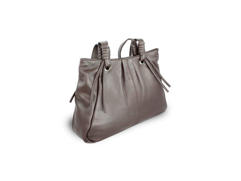 Kožená dámská kabelka Arwel zipová se dvěma popruhy hnědá