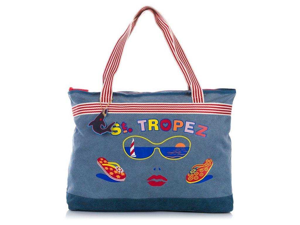 Velká dámská plážová taška; modrá