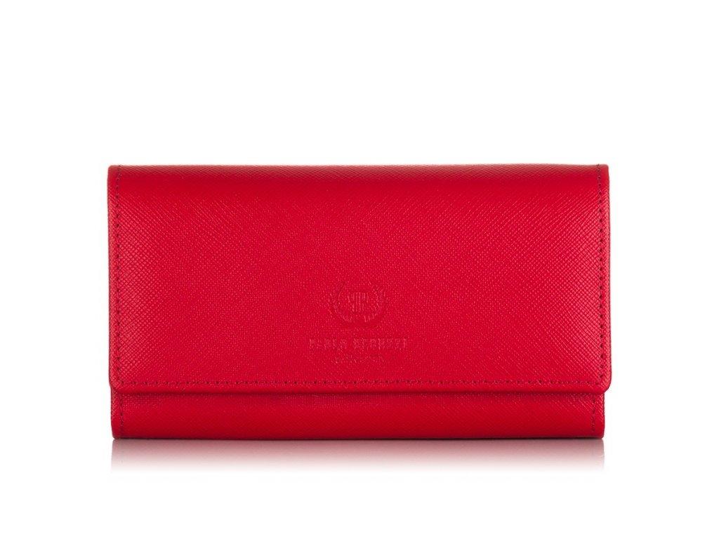 Značková dámská kožená peněženka PERUZZI; červená