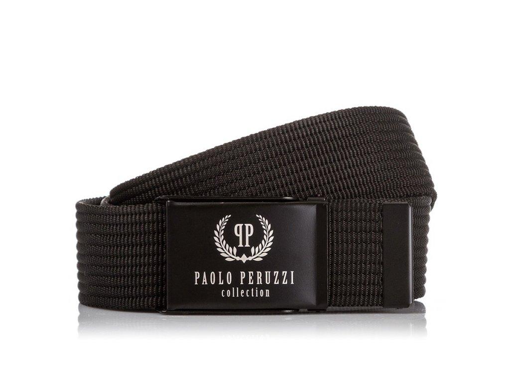 Pánský textilní pásek PAOLO PERUZZI; černá