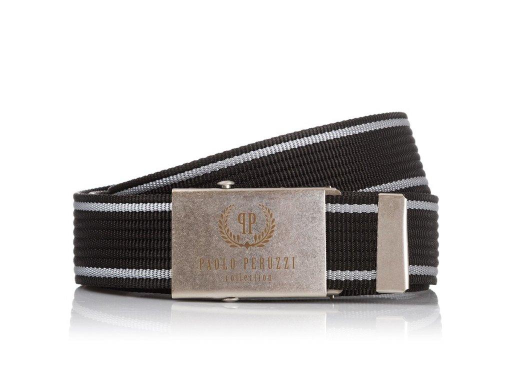 Pánský textilní pásek PAOLO PERUZZI; černý