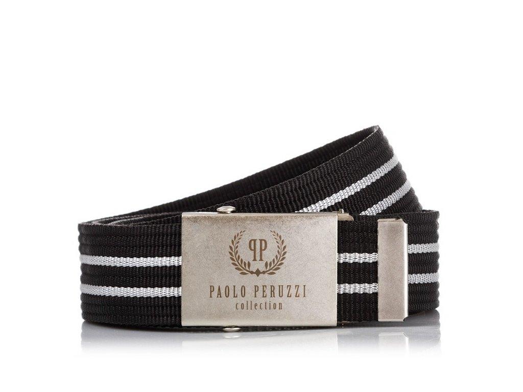 Pánský textilní pásek PAOLO PERUZZI ; černo-bílý