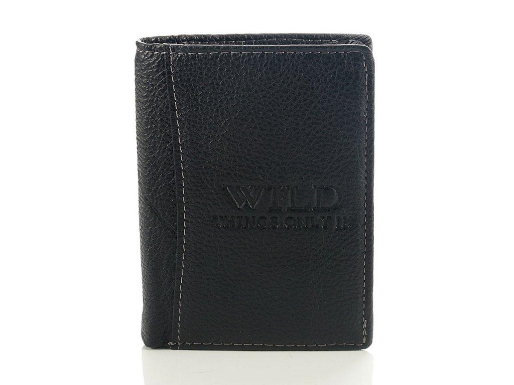 Skládací pánská kožená peněženka; černá