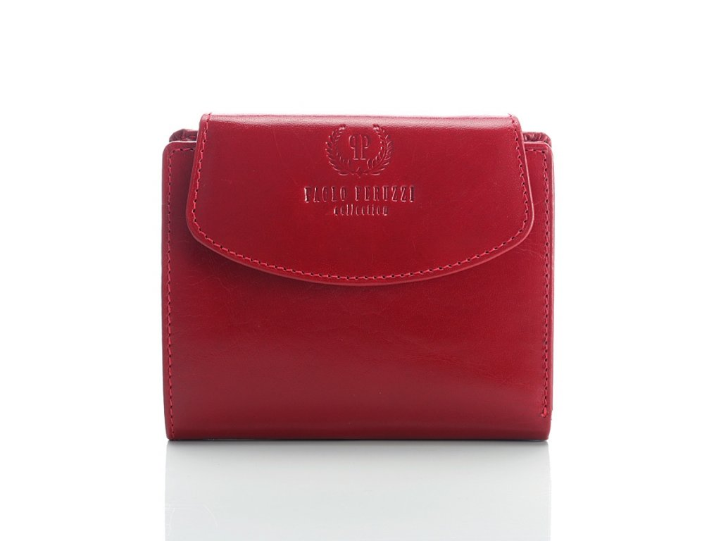 Dámská menší značková peněženka PAOLO PERUZZI; červená