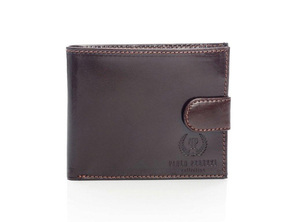 Exkluzivní pánská peněženka se zapínáním Paolo Peruzzi; hnědá
