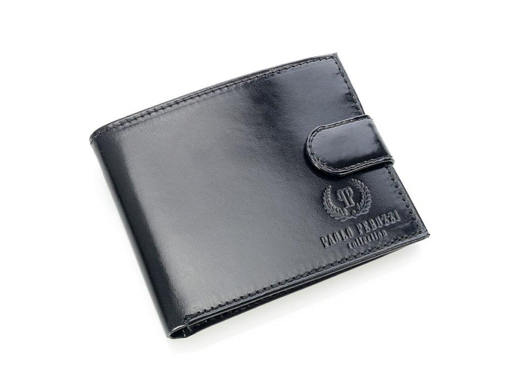 Exkluzivní pánská peněženka se zapínáním Paolo Peruzzi; černá