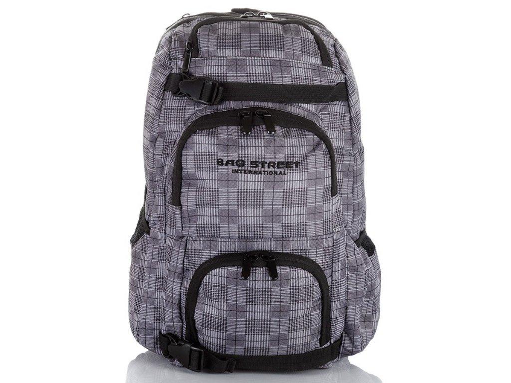 Sportovní batoh kostkovaný; šedá