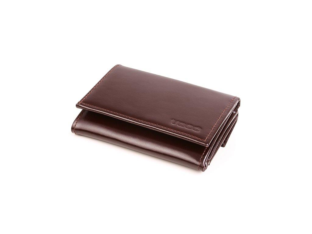 Malá kožená peněženka pro ženy VOOC; hnědá