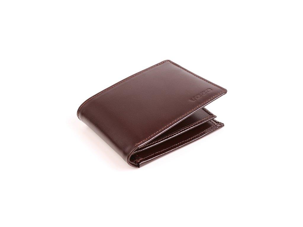 Pánská VOOC peněženka z pravé kůže; hnědá
