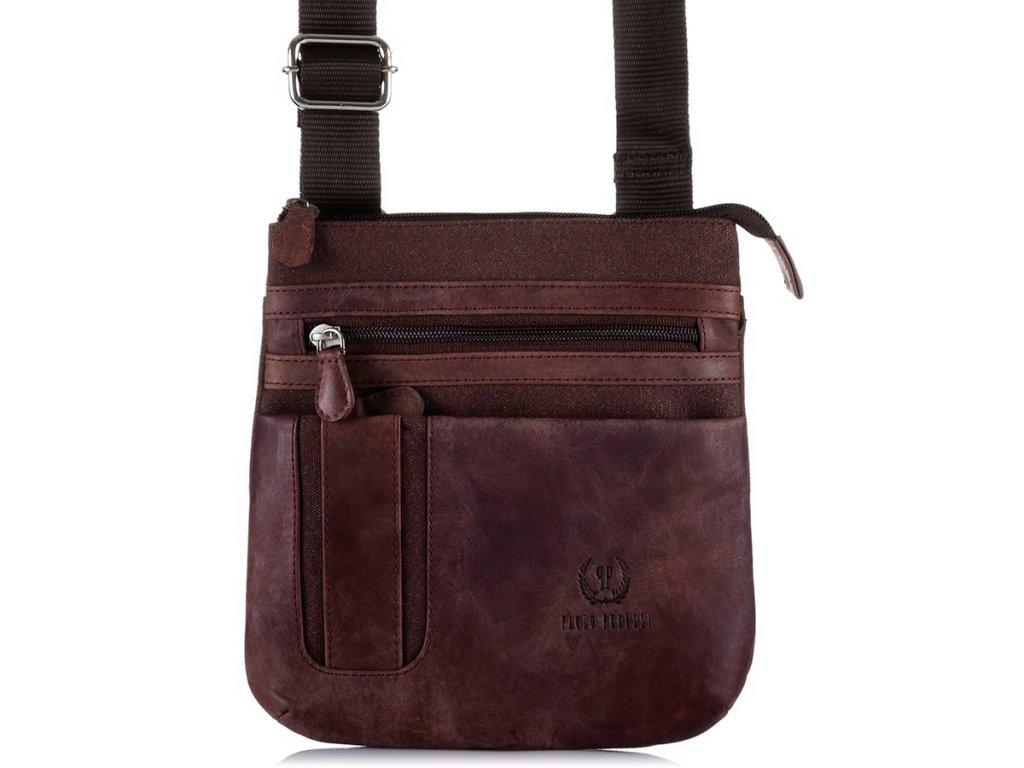 Pánská taška přes rameno Paolo Peruzzi; hnědá