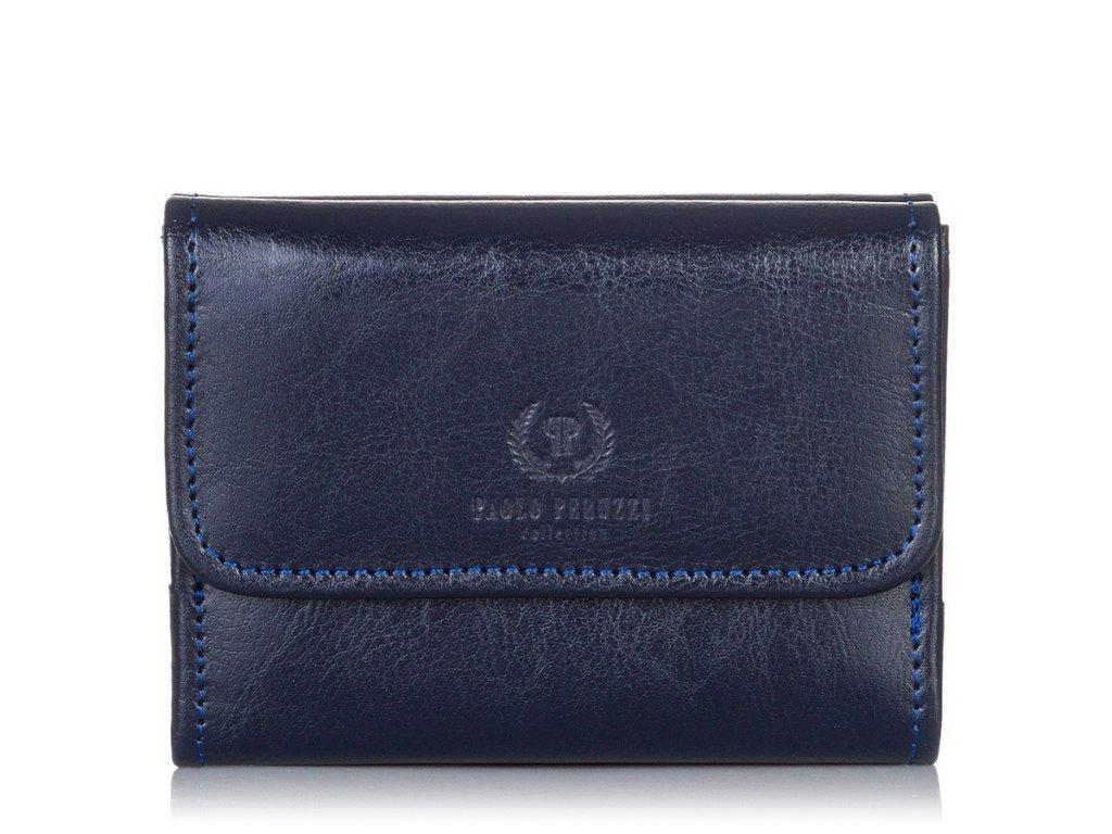 Dámská malá kožená peněženka Paolo Peruzzi; modrá