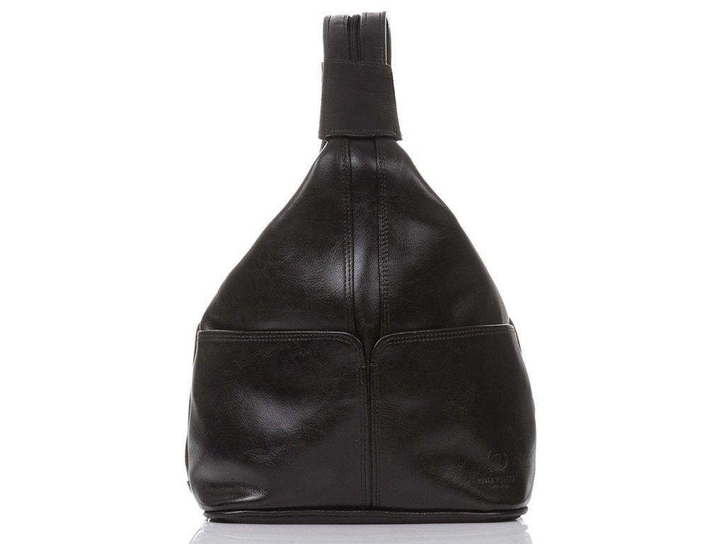 Kožený batoh a kabelka 2v1 Paolo Peruzzi; černá
