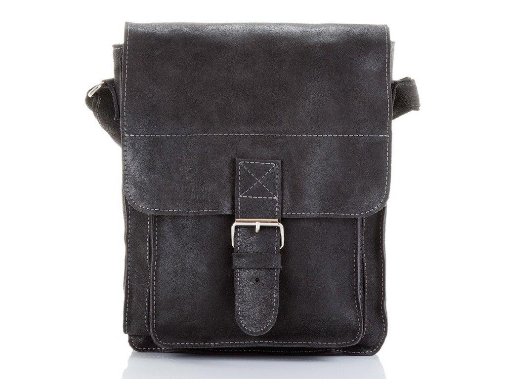 Pánská kožená taška přes rameno Paolo Peruzzi Adventure; černá