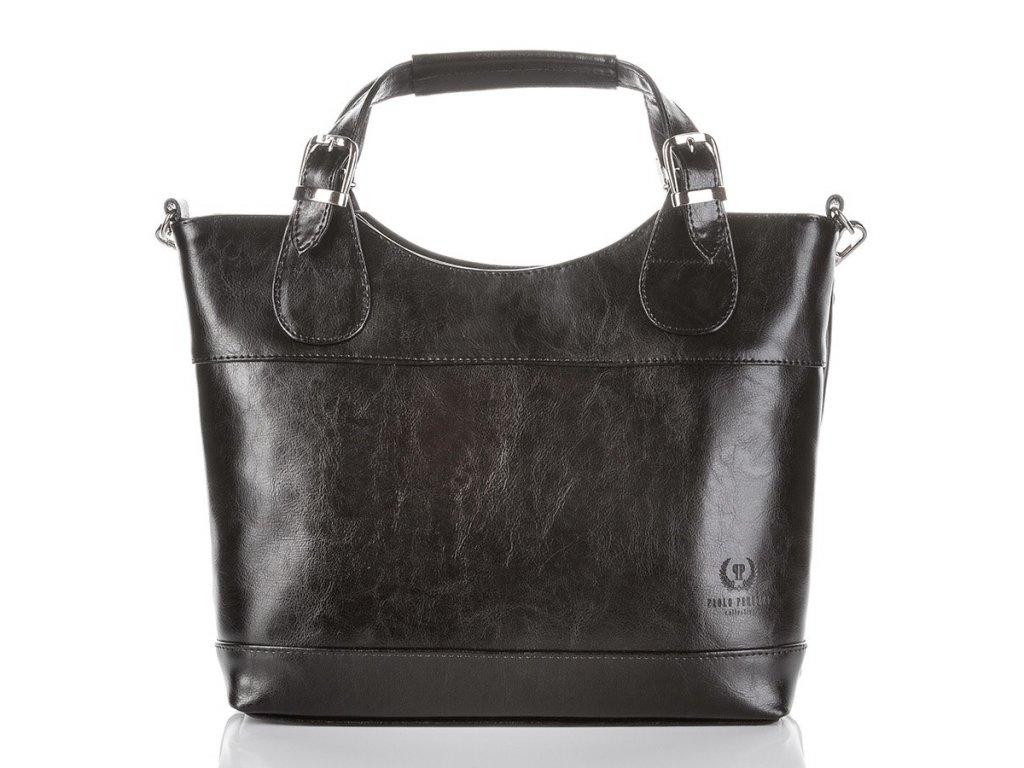 Dámská kožená shopper kabelka Paolo Peruzzi; černá