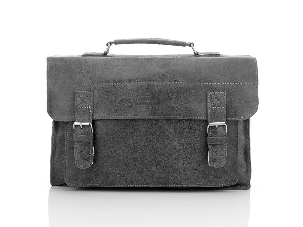 Pánská kožená taška Paolo Peruzzi Adventure; šedá