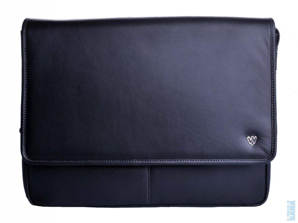 Kožená taška české výroby; černá; červená