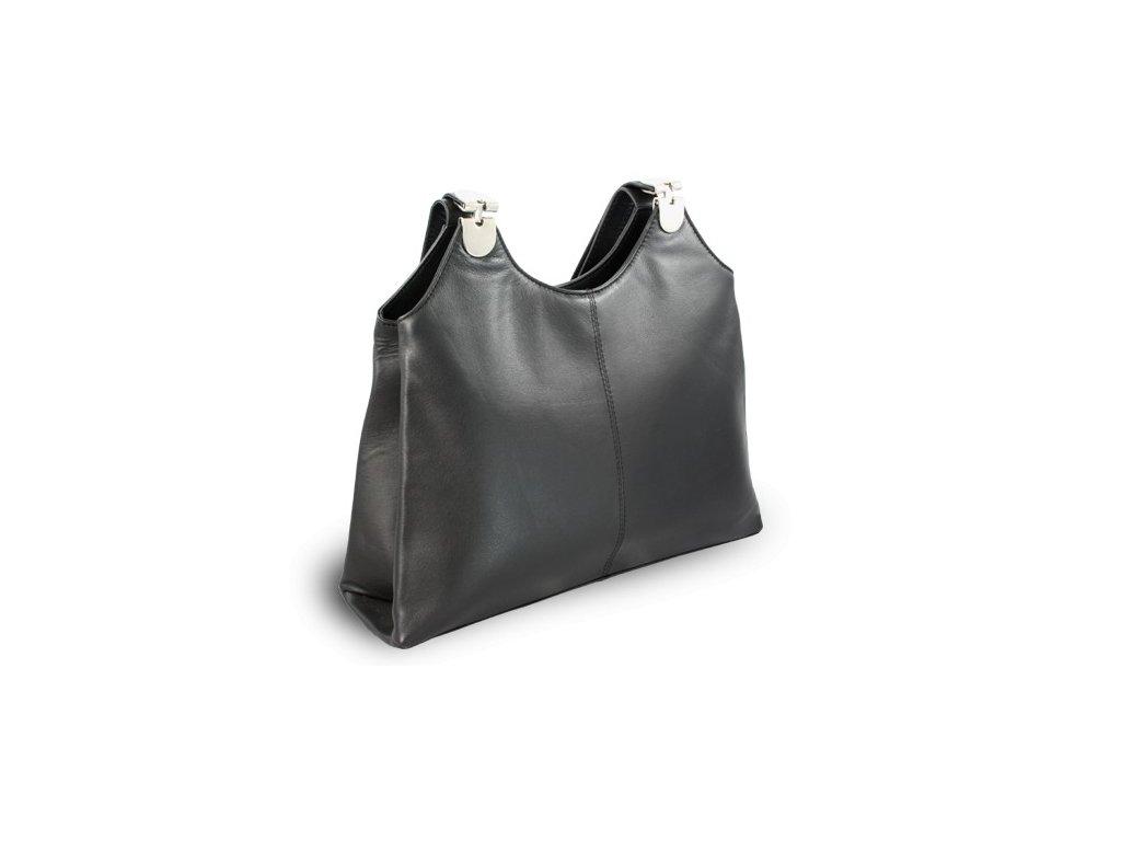 Kožená dámská kabelka černá  přes rameno