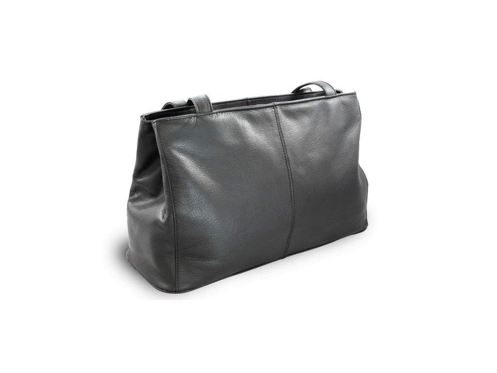 Kožená dámská kabelka dvouzipová větší česká výroba; černá