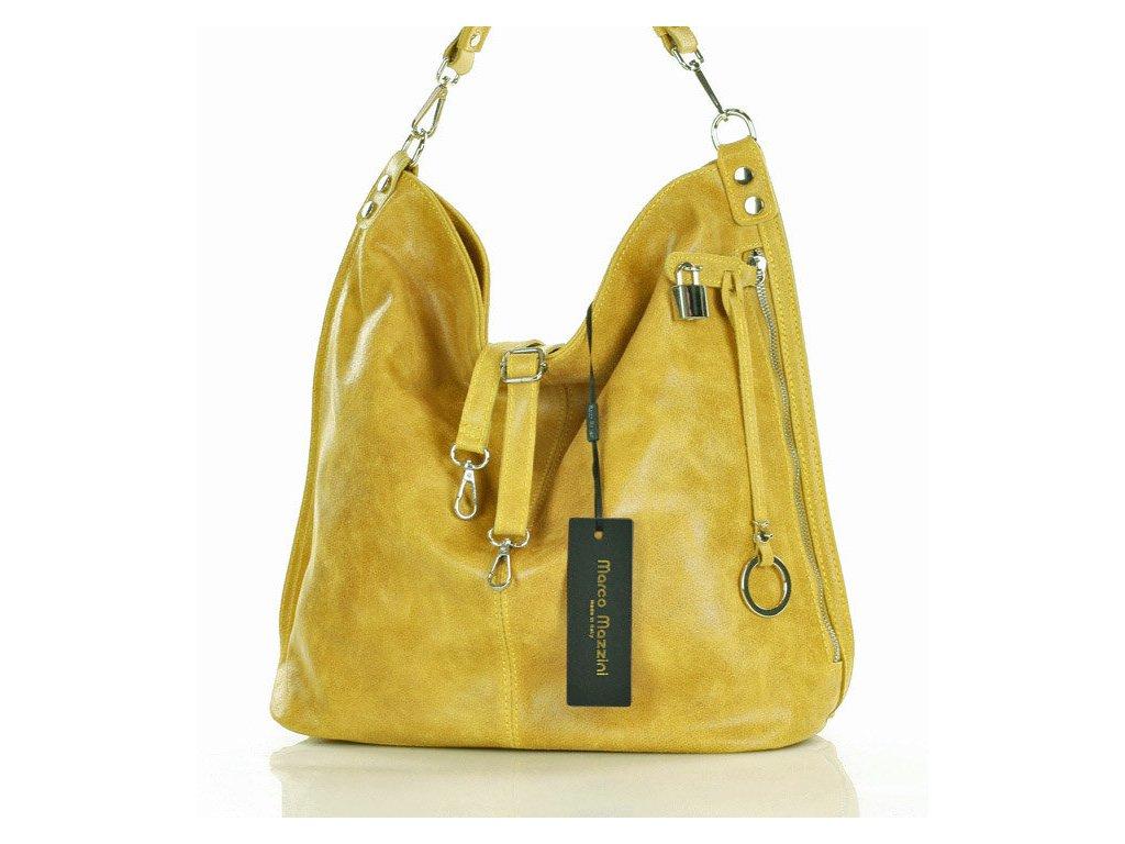Italská nadčasová stylová kabelka Renella kožená; žlutá
