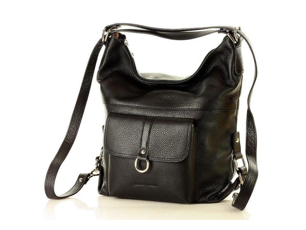 Italská kabelka i batoh MAZZINI z přírodní kůže; černá