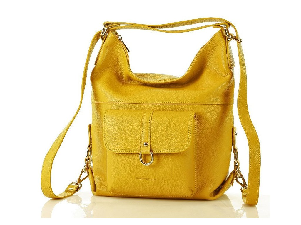 Italská kabelka i batoh MAZZINI z přírodní kůže; žlutá