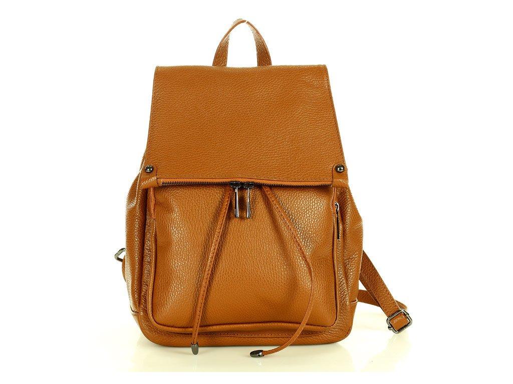 Praktický dámský batoh GIORNO pravá kůže; velbloud
