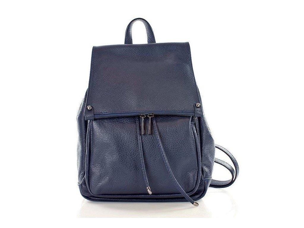 Praktický dámský batoh GIORNO pravá kůže; modrá