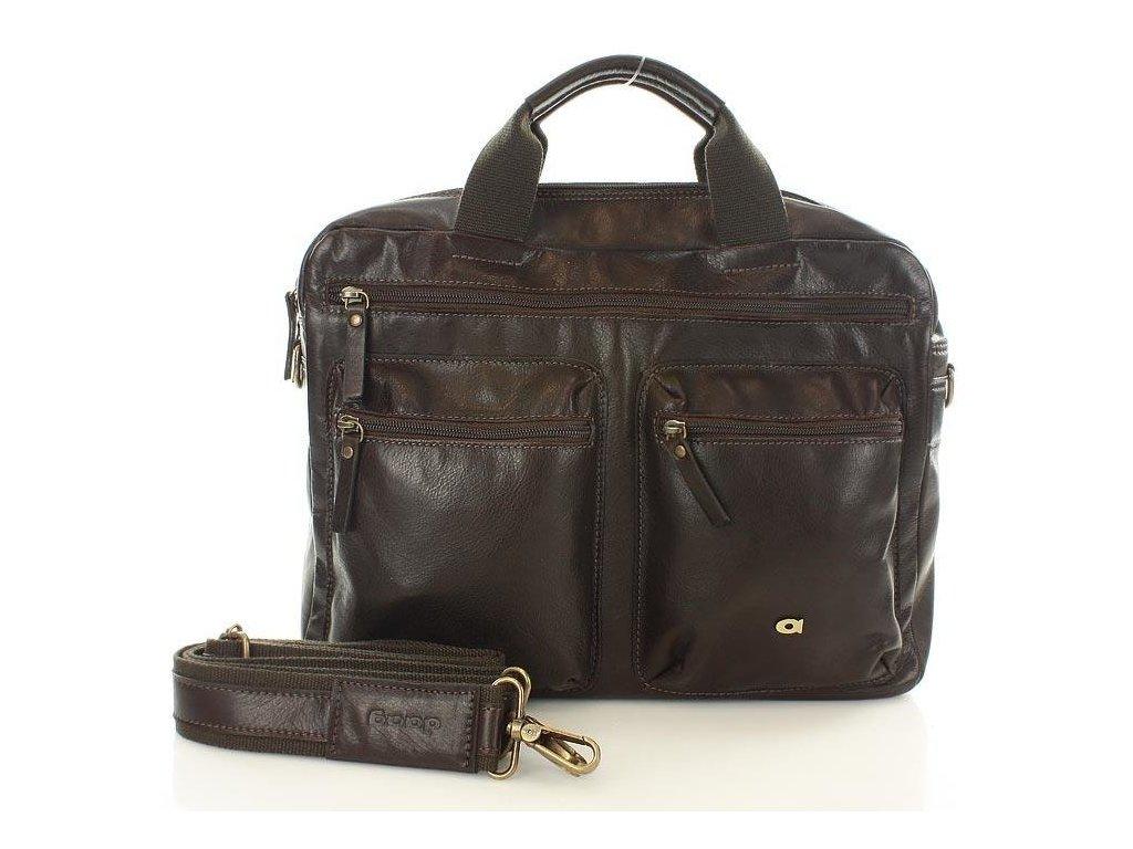 Značková pánská kožená taška na notebook; hnědá