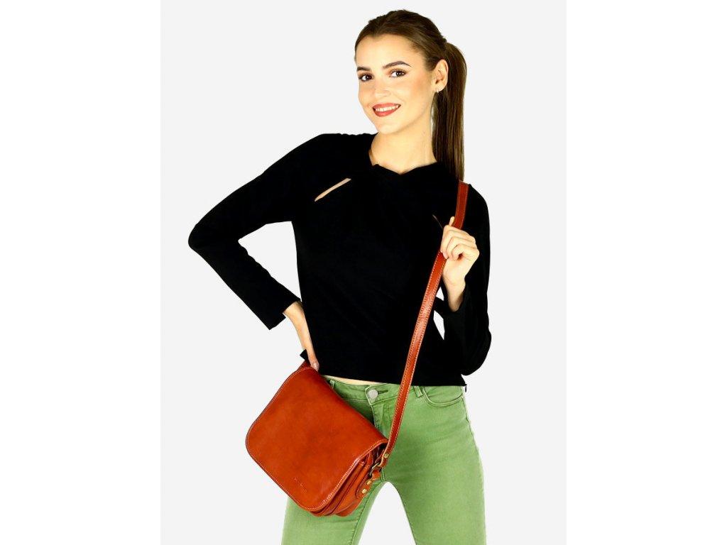 Italská taška na dlouhém pásu MAZZINI - Alabama Classico; karamel
