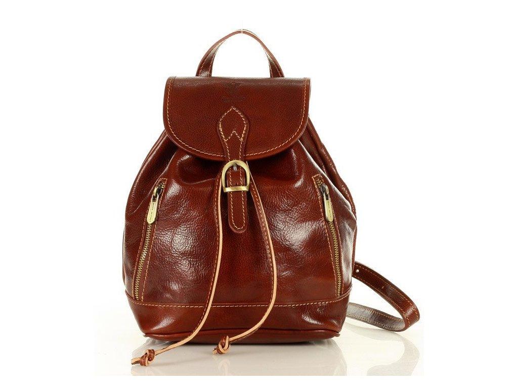 Italský kožený batoh SIMONE; hnědá