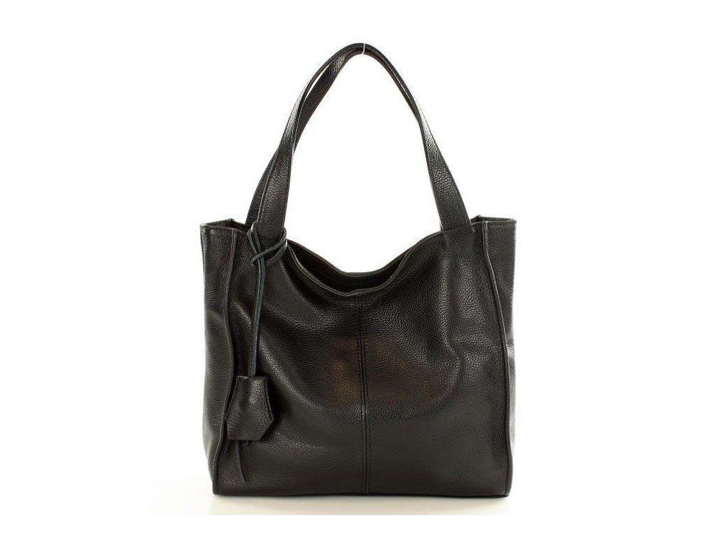 Módní italská kožená kabelka shopper MAZZINI; černá