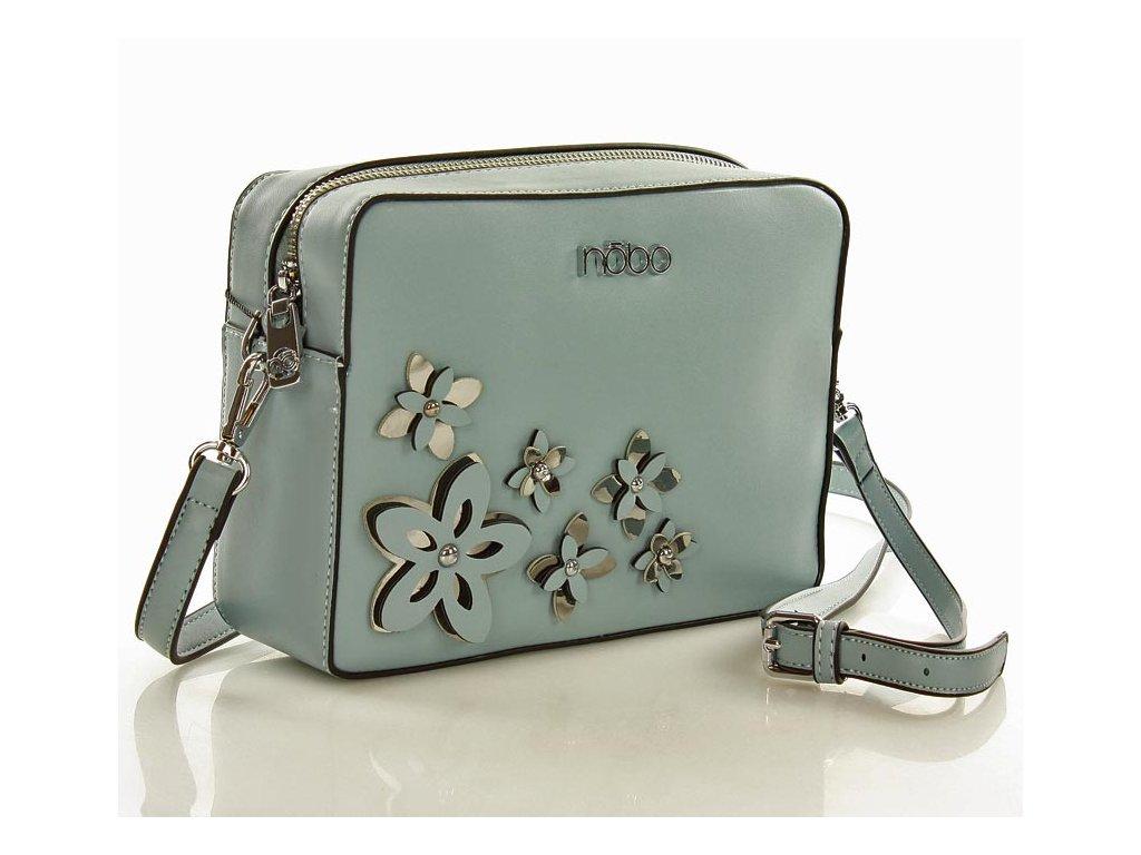 NOBO Crossbody kabelka s květy; modrá