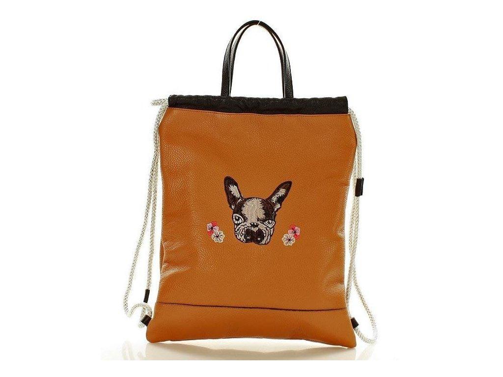 Italský kožený vak s motivem psa - oranžový
