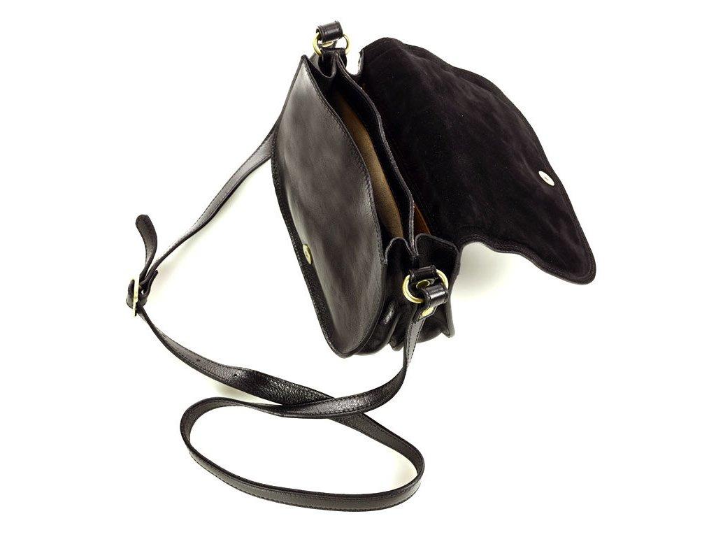 Menší kožená italská crossbody kabelka Mazzini; černá