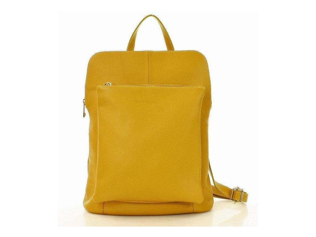 Stylový italský kožený dámský batoh MAZZINI; žlutá