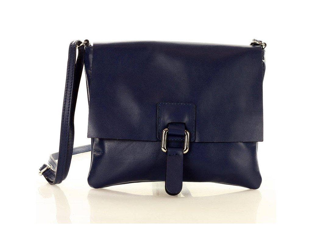 Italská crossbody kabelka MARCO MAZZINI z pravé kůže; modrá