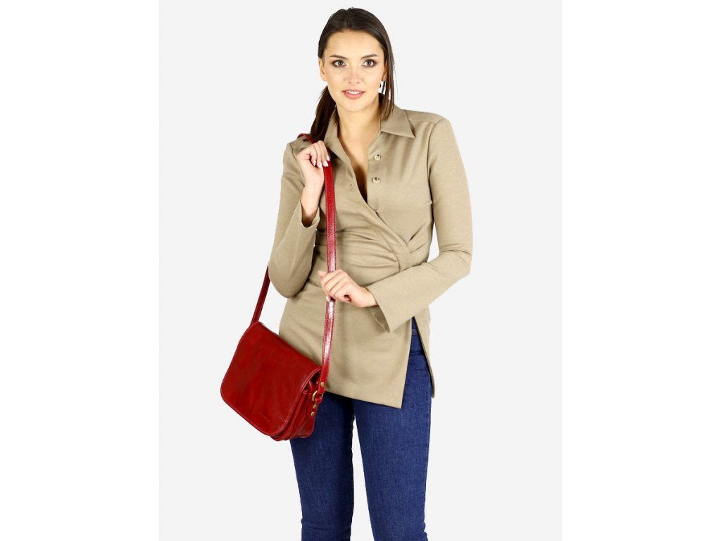 Italská taška na dlouhém pásu MAZZINI - Alabama Classico červená