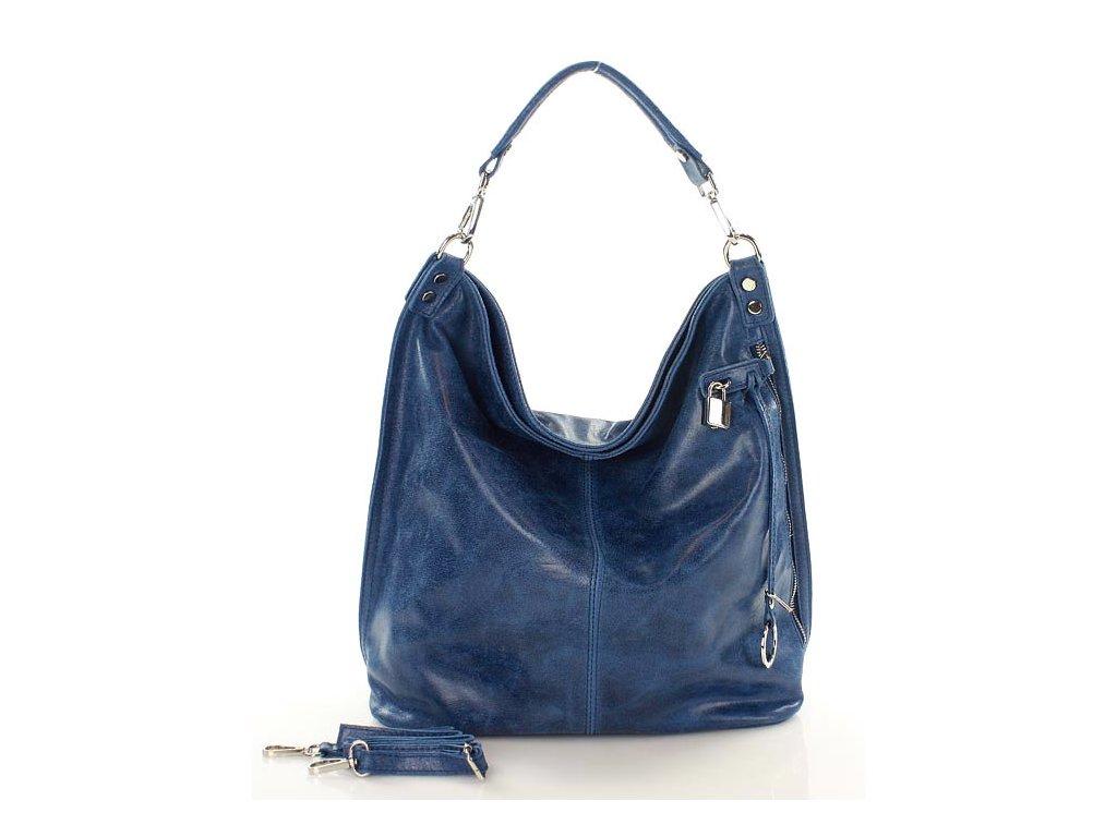 Italská nadčasová stylová kabelka kožená; modré džíny
